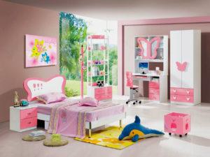 Кровать для девочки в интерьере комнаты