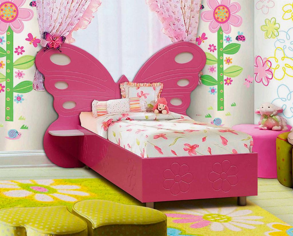 Розовая кровать для девочки с изголовьем в форме бабочки