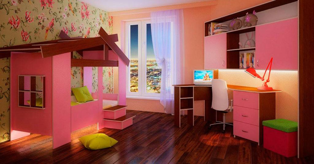 Кровать-домик в интерьере комнаты юной леди