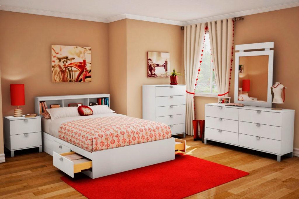 Кровать с выдвижными ящиками в интерьере комнаты девушки