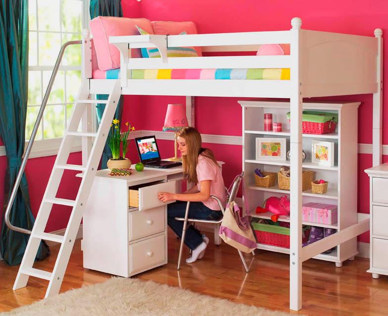 Кровать-чердак со столом внизу для девочек подростков