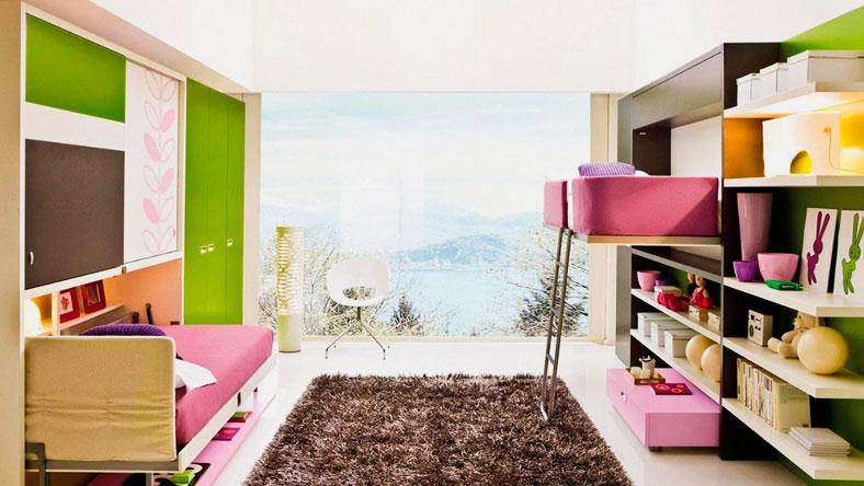Интерьер комнаты с кроватью-комодом в интерьере