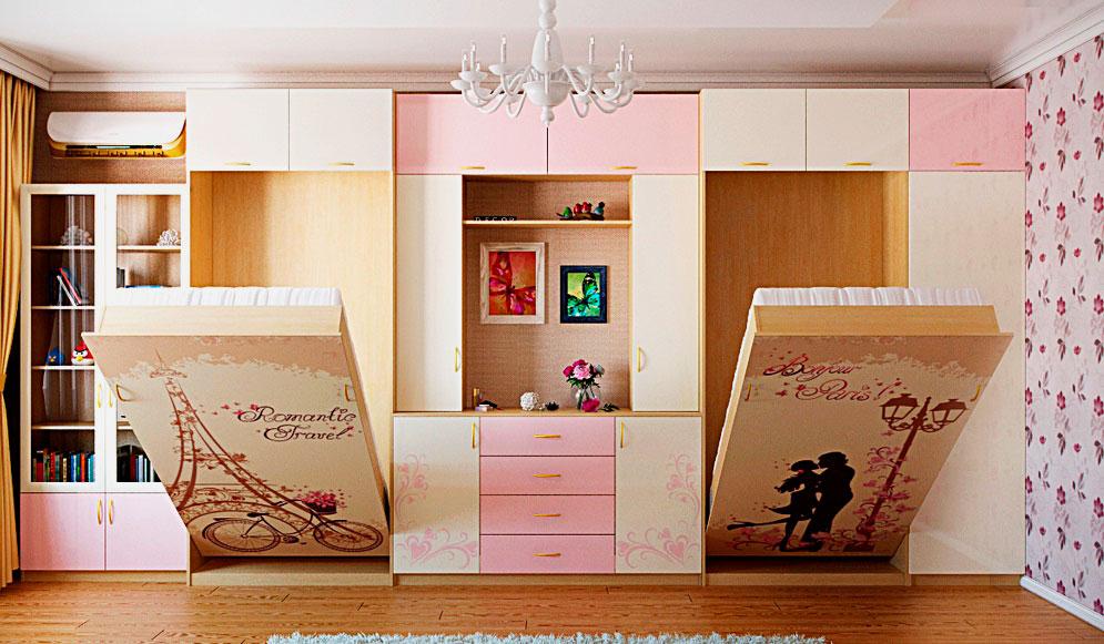 Комната двух девушек подростков с откидными кроватями трансформерами прячущимися в шкаф