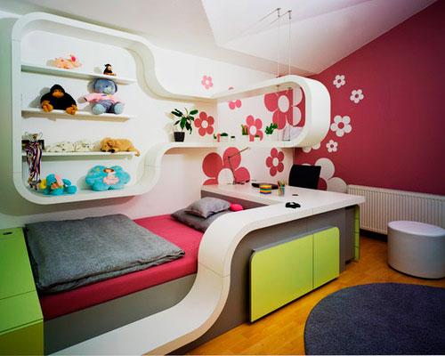 Стильный дизайн интерьера с кроватью для девочки подростка