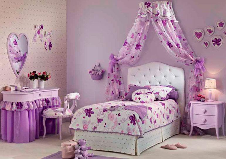 Кровать для девушки с мягким изголовьем и балдахином типа корона