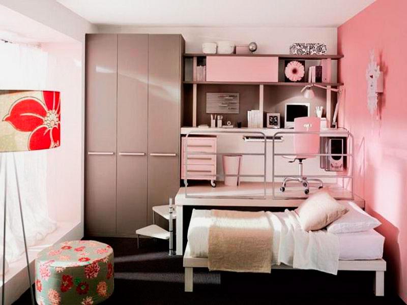 Фото комнаты девочки подростка с кроватью выдвигаемой из под подиума