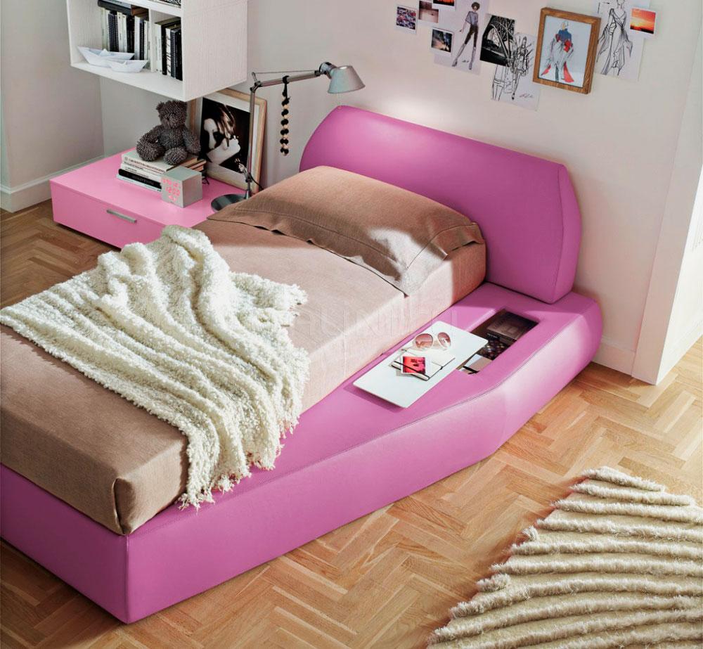 Кровать для девочки подростка с мягким каркасом в розовом цвете