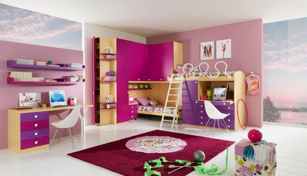 Фото комнаты девочек подростков с двухъярусной кроватью в интерьере