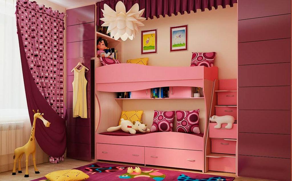 Розовая двухъярусная кровать для подростков