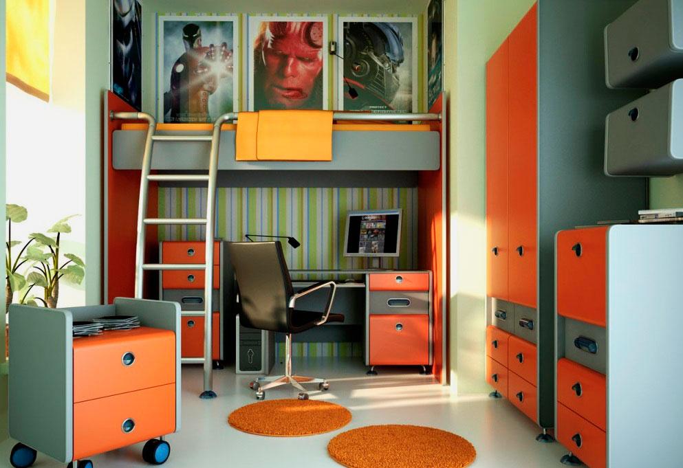 Кровать-чердак с рабочей зоной спальной комнате мальчика подростка