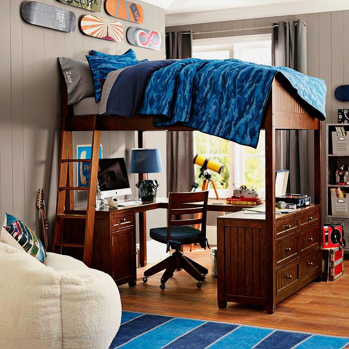 Кровать-чердак для мальчика подростка с рабочей зоной внизу