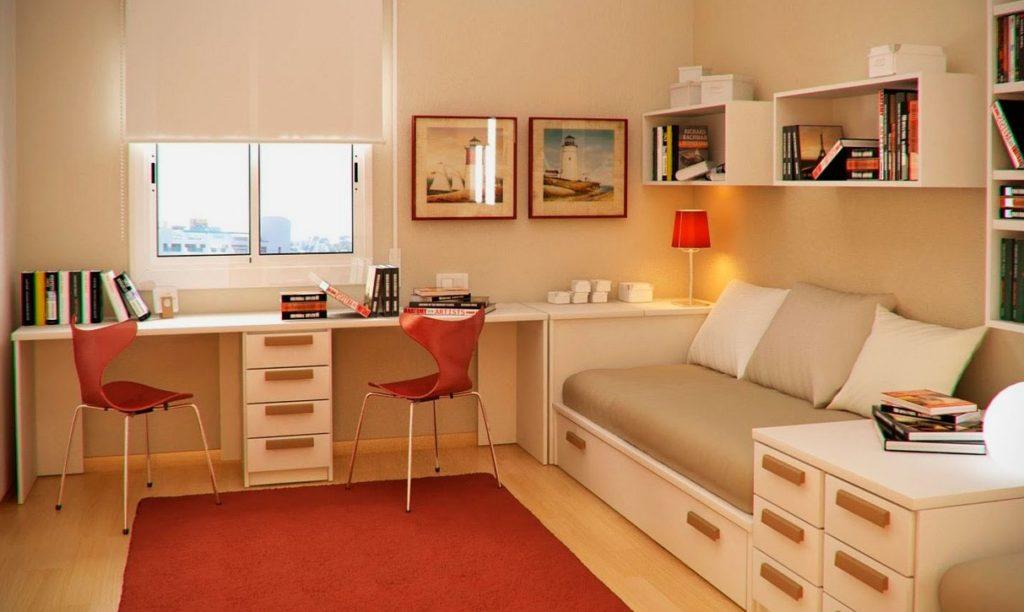 Стильный дизайн комнаты мальчика подростка с кроватью в интерьере