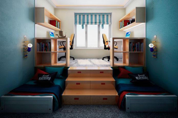 Интерьер комнаты мальчиков подростков с двумя кроватями под подиумом