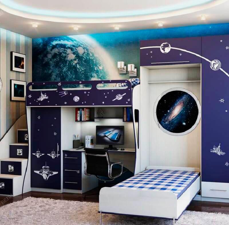 Шкаф-кровать в интерьере комнаты мальчиков подростков