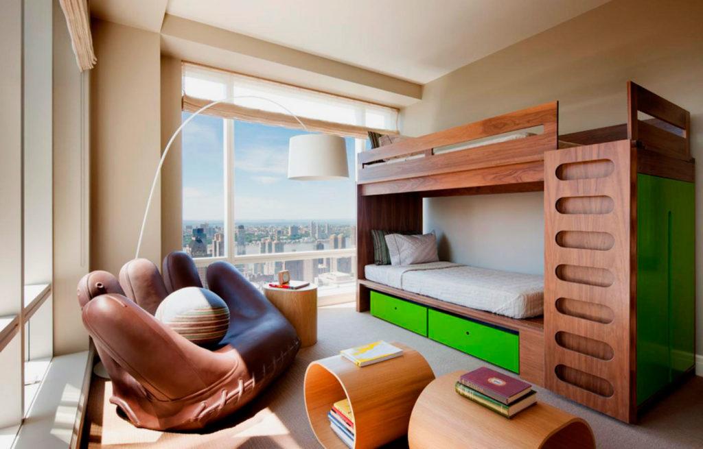 Деревянная двухъярусная кровать для мальчиков подростков