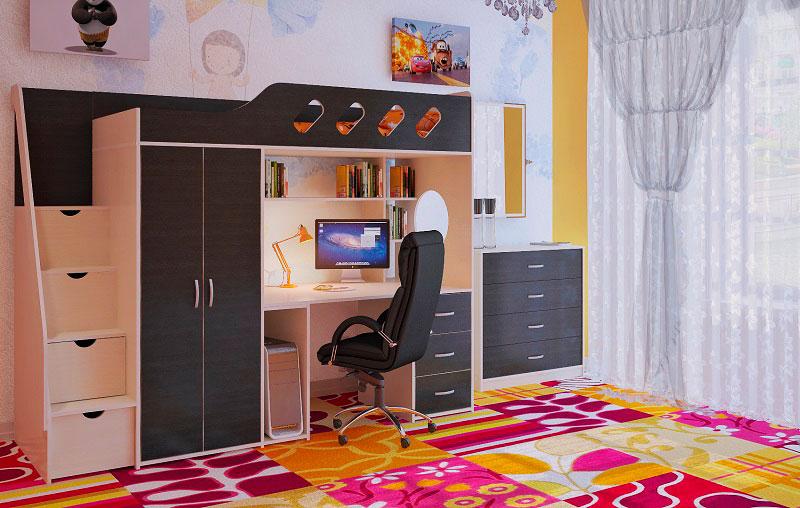 Кровать-чердак для подростка со шкафом и встроенным компьютерным столом