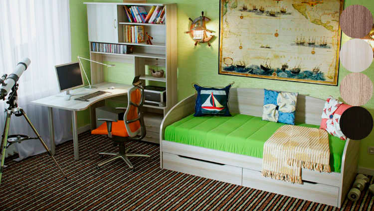 Кровать со спинкой для подростка в интерьере комнаты