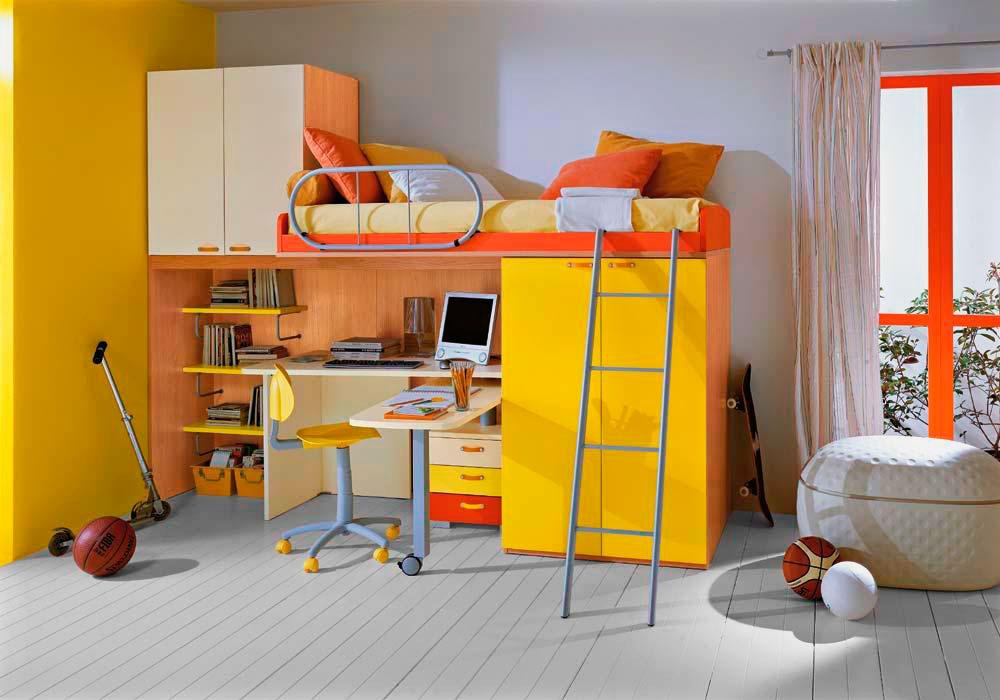 Яркая кровать-чердак со шкафом и столом