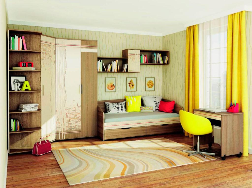 Интерьер комнаты подростка с кроватью в интерьере классической конструкции