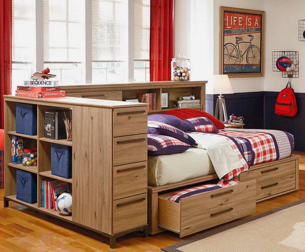 Фото кровати для подростка с выдвижными ящиками