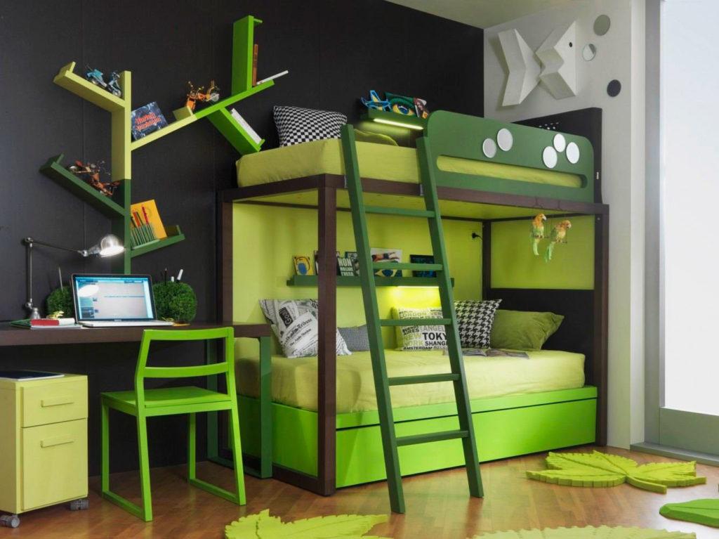Двухъярусная зеленая кровать для подростков