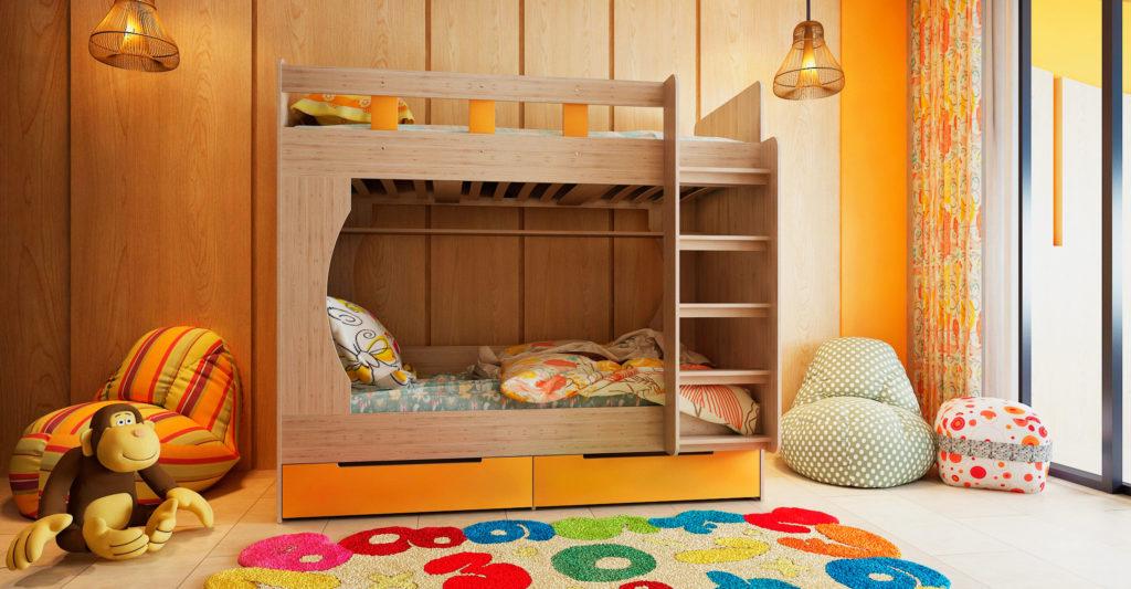 Фото комнаты подростков с двухъярусной кроватью