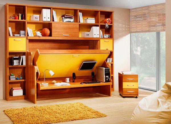Шкаф-кровать со столом внизу