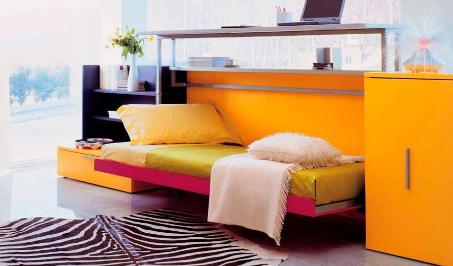 Кровать-комод с подъёмным вверх столом