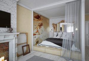 Фото кровати расположенной в нише на подиуме