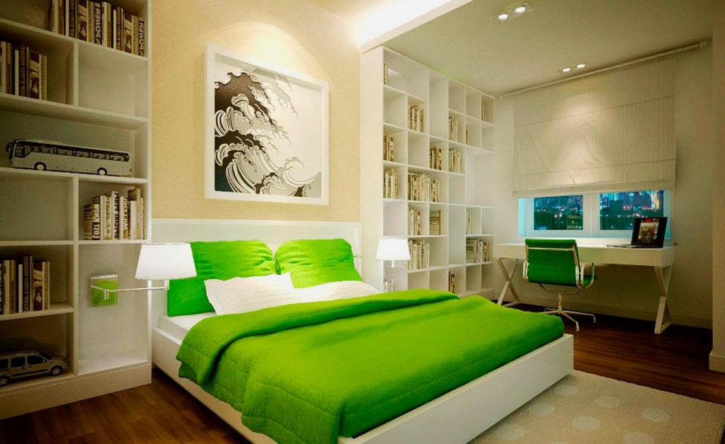 Фото спальной комнаты с белой кроватью