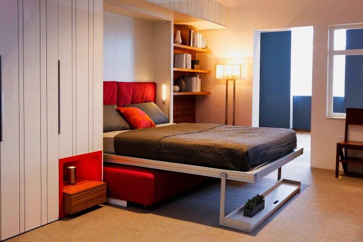 Откидная кровать трансформер в стене