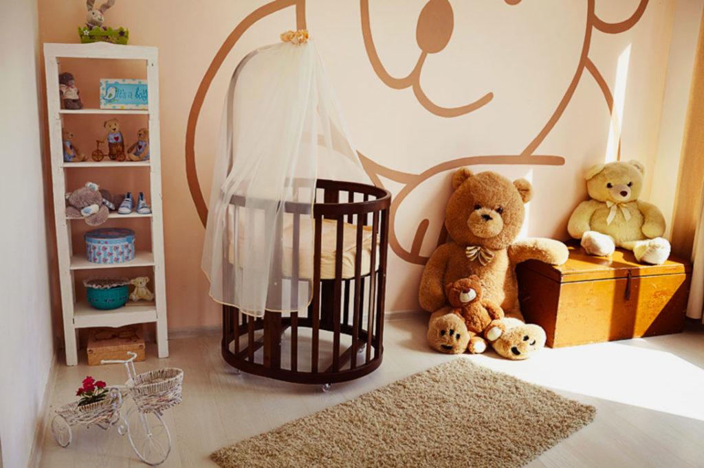 Круглая кровать-трансформер для новорожденных с балдахином