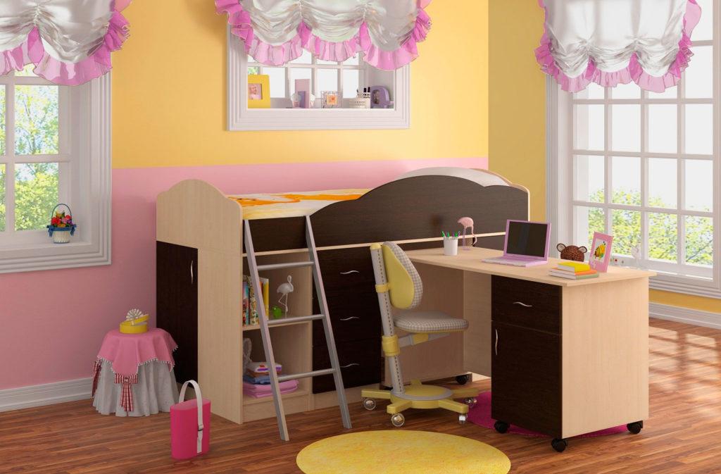 Интерьер детской комнаты девочки с кроватью-чердаком низкого типа