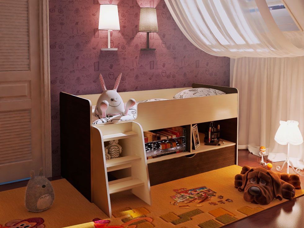 Интерьер детской комнаты с низкой кроватью-чердаком в интерьере