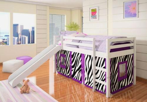 Фото детской комнаты с низкой кроватью-чердаком с горкой в интерьере