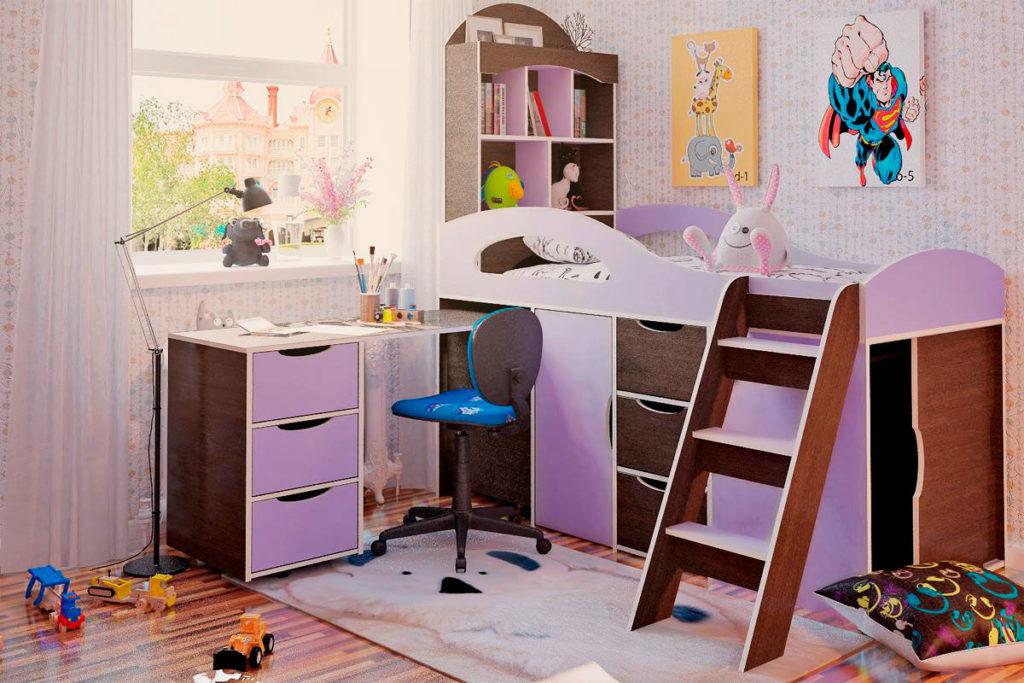 Кровать-чердак для девочки с низким каркасом оснащенная шкафом, выдвижными ящиками и столом