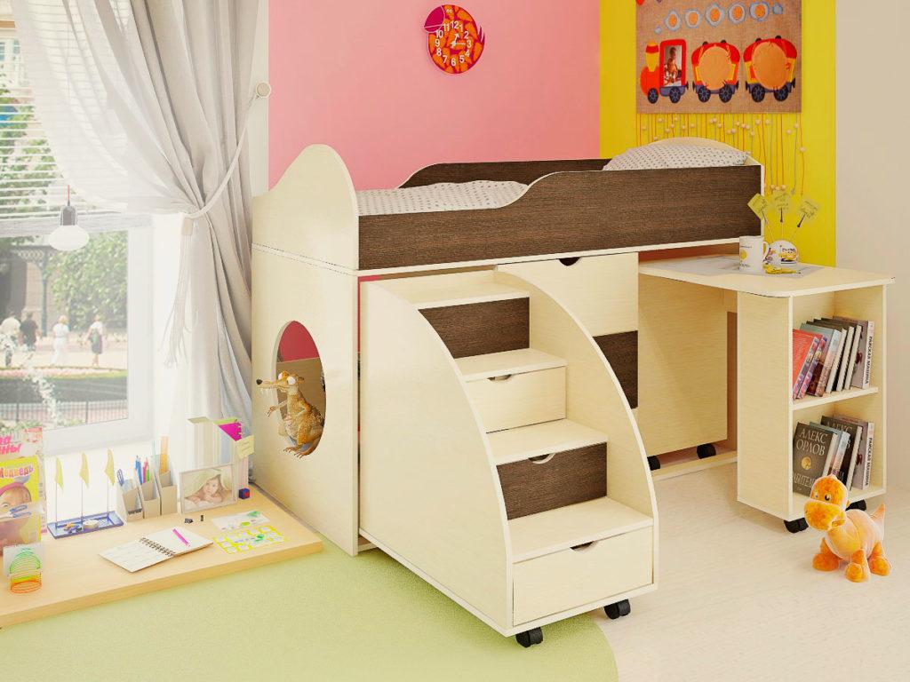 Низкая кровать-чердак с выдвижной лестницей в виде ящиков для хранения и столом