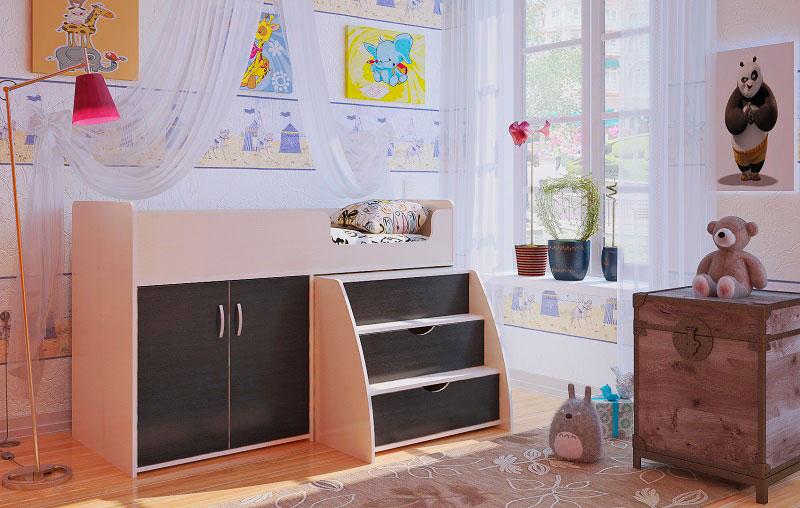 Фото детской комнаты с кроватью чердаком низкого типа с широкими ступенями
