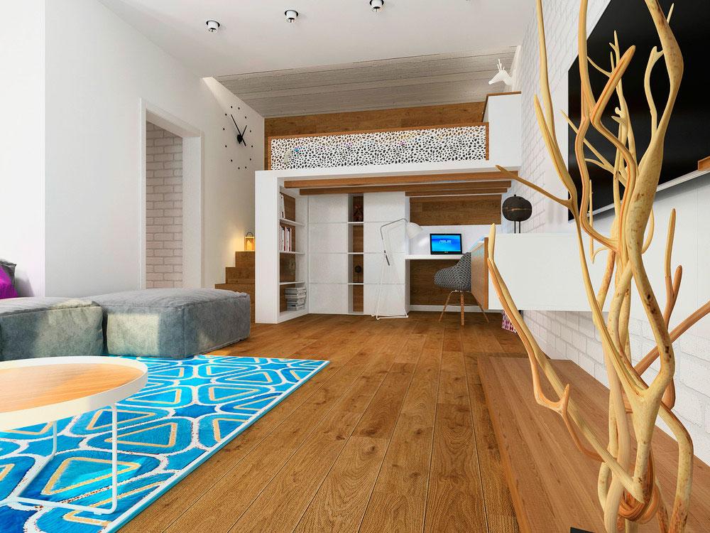 Встроенная кровать-чердак в интерьере комнаты