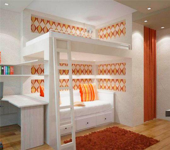 Встроенная кровать-чердак с диваном внизу