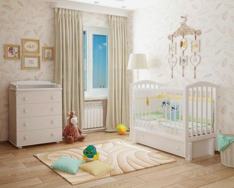 Интерьер детской комнаты с кроватью для новорожденных