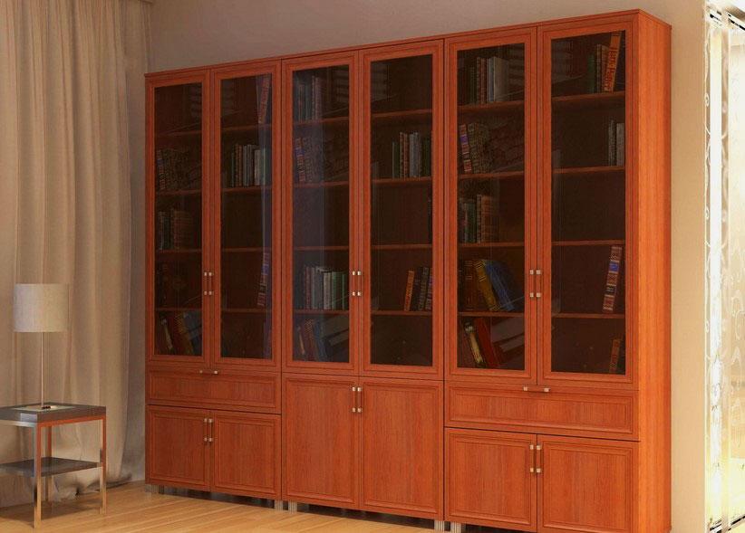 Фото книжного шкафа с распашными стеклянными дверьми