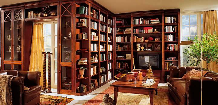 Интерьер комнаты с книжным шкафом вдоль всей стены