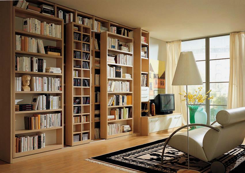 Фото книжного шкафа с подвижными элементами