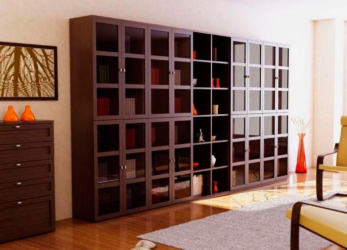 Большой шкаф для хранения книг с застекленным фасадом