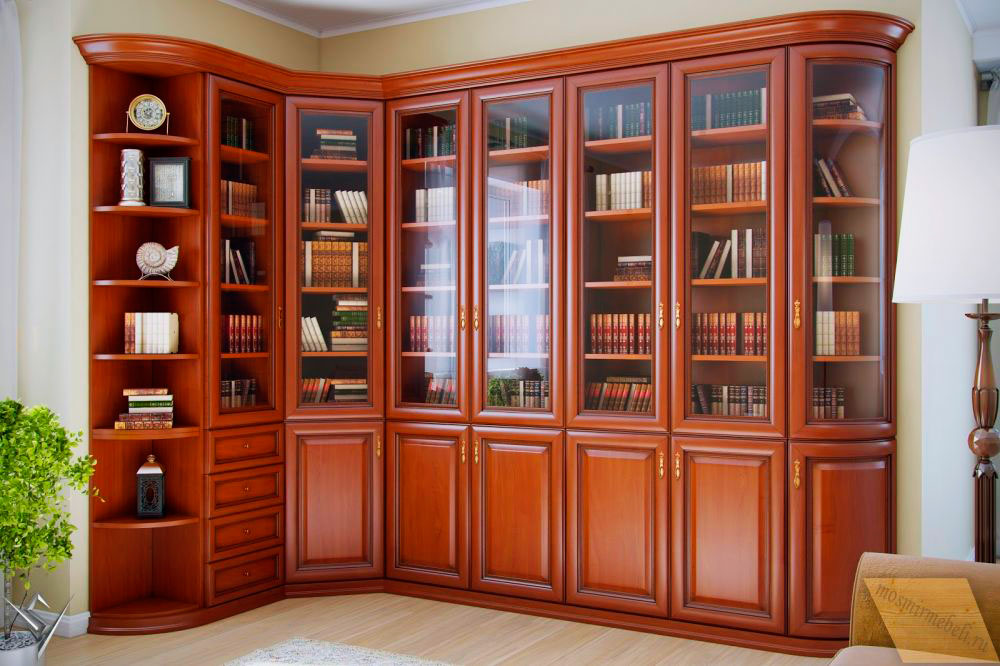 Шкаф для домашней библиотеки с угловыми элементами