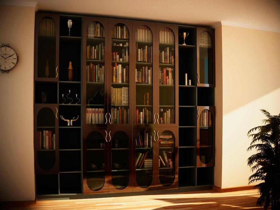 Книжный шкаф со стеклянными дверцами расположенный в альковной нише