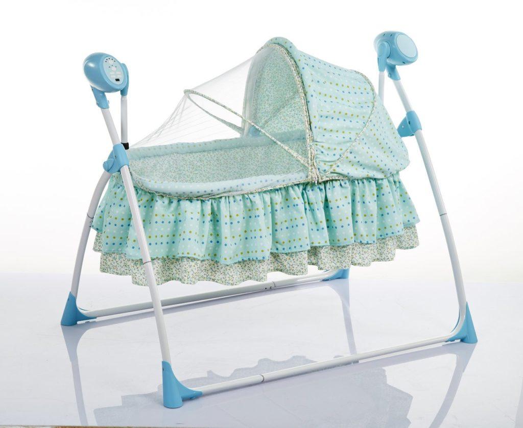 Электронная люлька-качалка для новорожденных с козырьком и балдахином