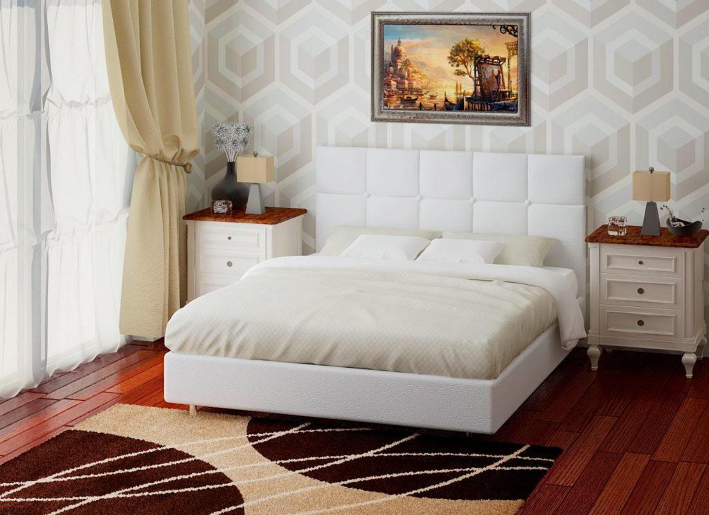 Белая кровать в натуральной текстурированной коже