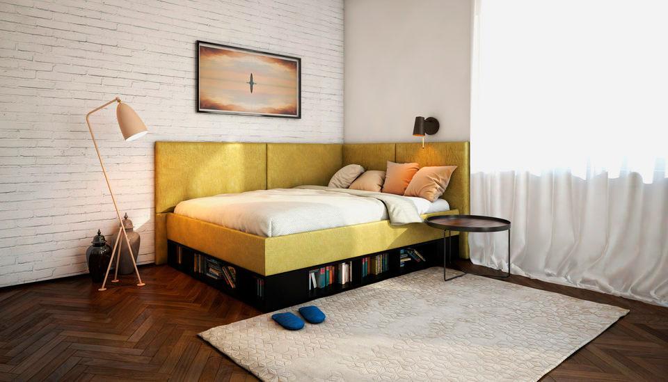 Односпальная мягкая угловая кровать со спинкой